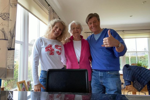 Gordon Percy and his partner, Stephany, back home with his 89-year-old mum.
