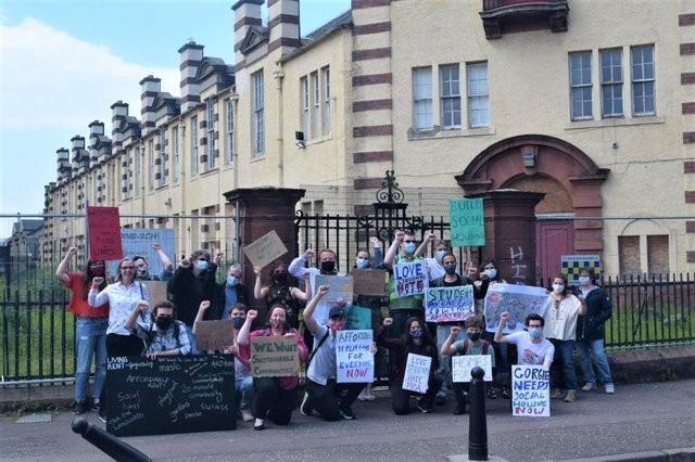 A protest organised by residents and Living Rent against the proposed PBSA