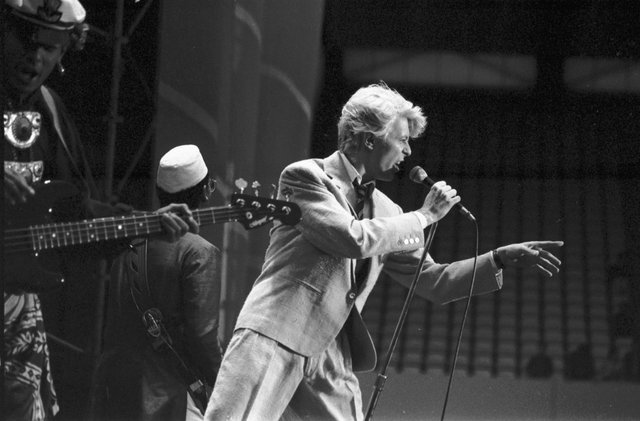 David Bowie on stage at Murrayfield stadium in Edinburgh, during the 'Serious Moonlight' tour, June 1983.