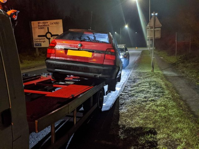 The recovery truck was stopped by the road policing officers last night near Whitburn (Photo: Road Policing Scotland).