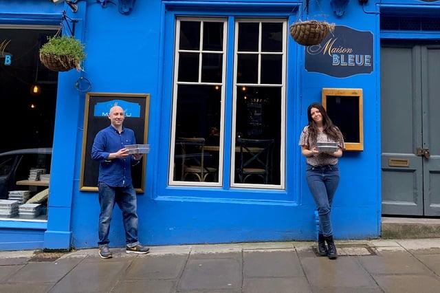 Dean and Layla Gassabi outside Maison Bleue in Edinburgh