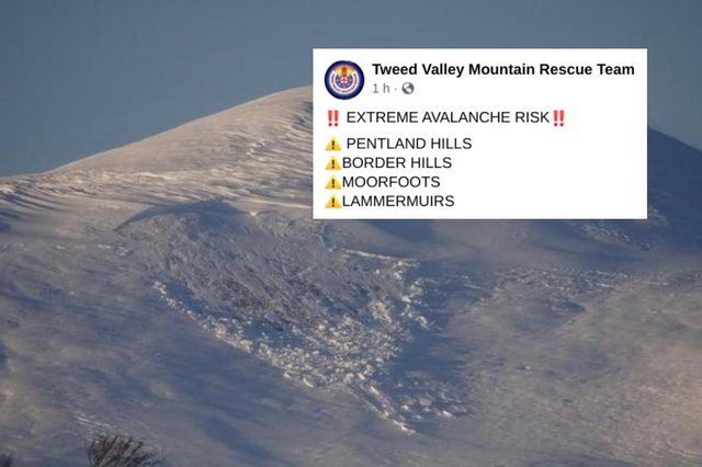 Mountain rescue team issue 'extreme' avalanche warning for hills in southern Scotland. This picture was taken following an avalanche at Turnhouse Hill in January this year picture: supplied