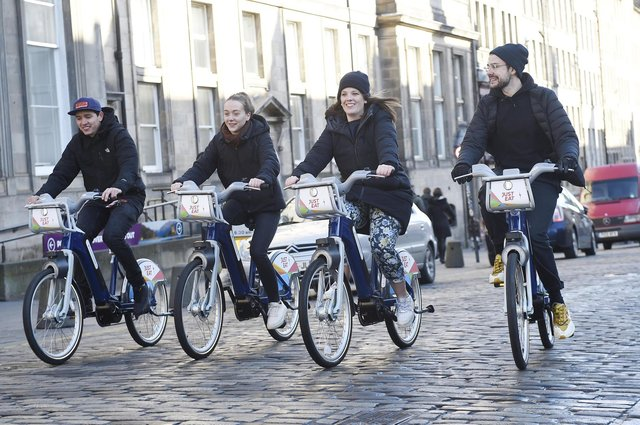 Pic - Greg Macvean - 02/03/2020 - 07971 826 457 - Weber ShandwickEdinburgh's new fleet of 163 rentable e-bikes are officially launched at the City Chambers and integrated into the existing cycle hire scheme - Just Eat Cycles