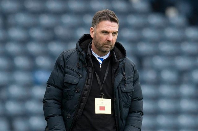 Stranraer manager Stevie Farrell watched Hibs' 3-1 win over Queen of the South in the previous round. Pic: SNS Group