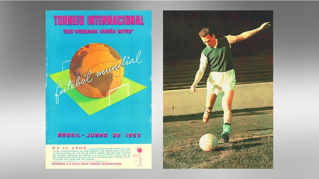 The tournament programme, left, and a colourised image of Lawrie Reilly, who scored three goals at the tournament