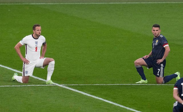 Players take the knee against racism before the UEFA EURO 2020 Group D football match between England and Scotland at Wembley Stadium (Getty Images)