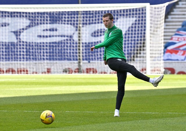 Hibs youngster Ethan Laidlaw warming up before a match at Ibrox last month. Picture: SNS