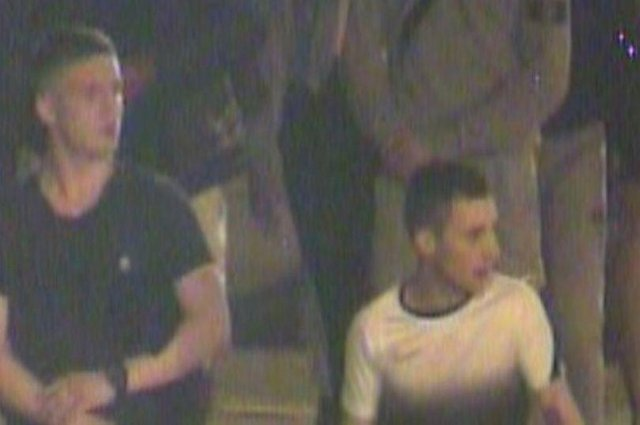 Police would like to speak to the two males in this picture taken from CCTV. Photo: Police Scotland.