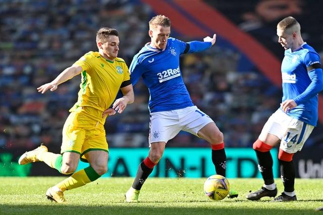 Hibs midfielder Kyle Magennis battles for the ball with Rangers counterpart Steven Davis