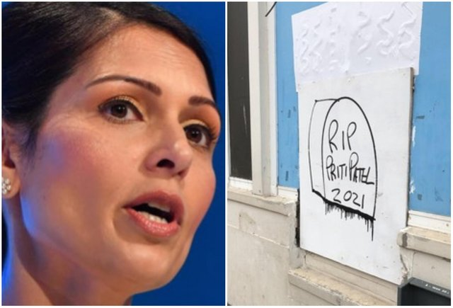The graffiti, scribbled on the walls of the old TSB bank on Portobello High Street, shows a tombstone emblazoned with the words 'RIP Priti Patel 2021'.