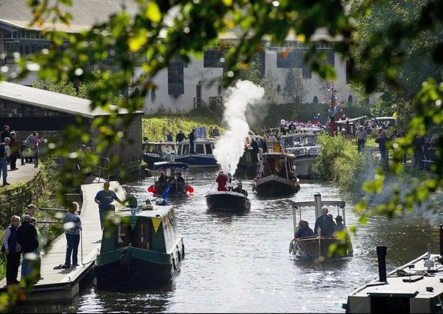 Boats of all shapes and sizes navigate the Forth and Clyde Canal at Kirkintilloch. Photograph: Peter Sandground
