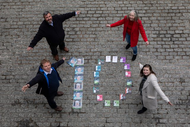 Edinburgh Guarantee celebrates a decade of helping young people into fair work, education and training opportunities by expanding its commitment. (l-r Gavin Keddie and Andrew McAllister, Head of Sales, both from The Wee Book Company, Cllr Mandy Watt, Vice Convener and Cllr Kate Campbell, Convener of the Housing, Homelessness and Fair Work Committee.)