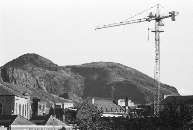A crane towers over the site of the Great Mosque being built in Edinburgh, October 1989.