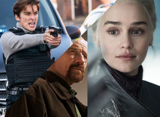 Clockwise from left: Line of Duty (BBC), Game of Thrones (HBO), Breaking Bad (AMC)