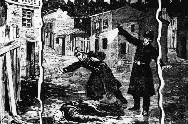 Illustration shows the police discovering the body of one of Jack the Ripper's victims