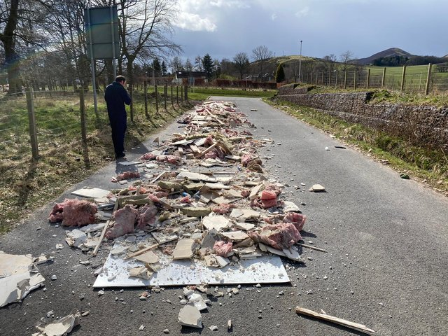 Flytipping at the Glencorse water treatment works access road. Pic: Scottish Water