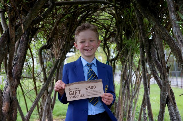 """Oxgang Primary School pupil, Dylan Campbell as its """"Spring Path Days"""" campaign winner."""