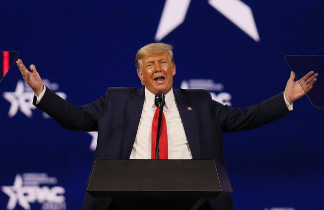 Former US president Donald Trump addresses the Conservative Political Action Conference (CPAC) on 28 February 2021. (Pic: Getty Images)