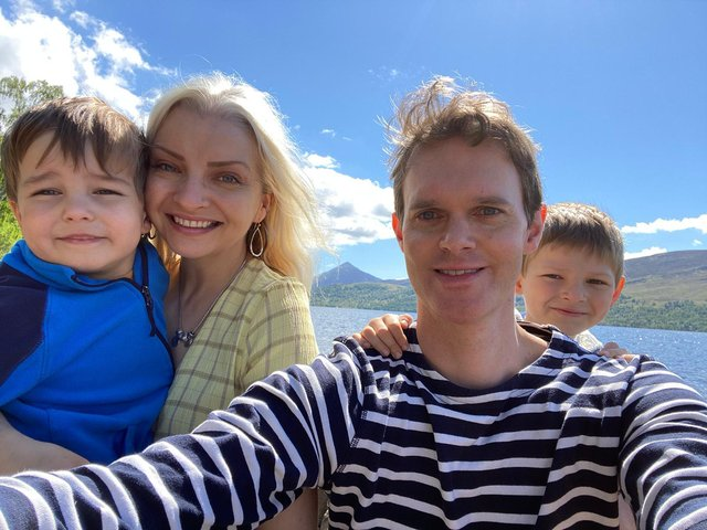 Kirsty Nicholls with husband Tom and their sons