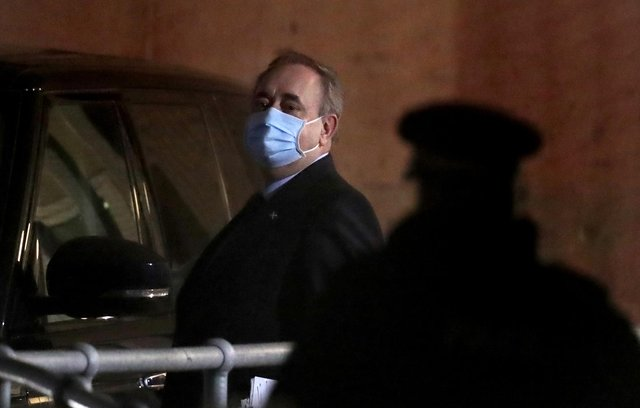 Former First Minister Alex Salmond leaves Holyrood in Edinburgh after giving evidence to a Scottish Parliament Harassment committee.