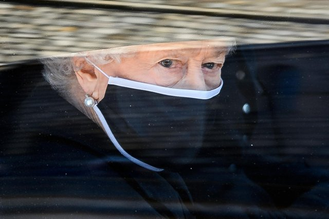 Queen Elizabeth II during the funeral of Prince Philip, Duke of Edinburgh at Windsor Castle on Saturday, April 17(Photo by Leon Neal/WPA Pool/Getty Images).