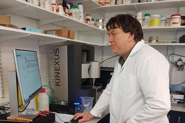 Professor Stephen Euston from Heriot-Watt University, working in the lab.