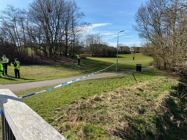 Police have confirmed that a man's body was found in a burn in Bathgate this morning. Pic: Lisa Ferguson