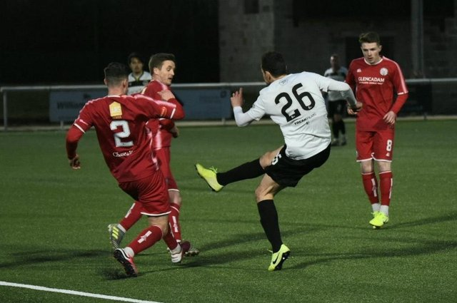 Rafa De Vita scores the winning goal in Edinburgh City's 2-1 victory over Brechin City at Ainslie Park last night