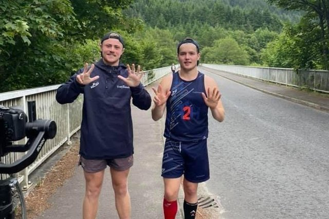Best friends Toby Gray, 18 and Charlie Brett, 22, on route to the Capital.