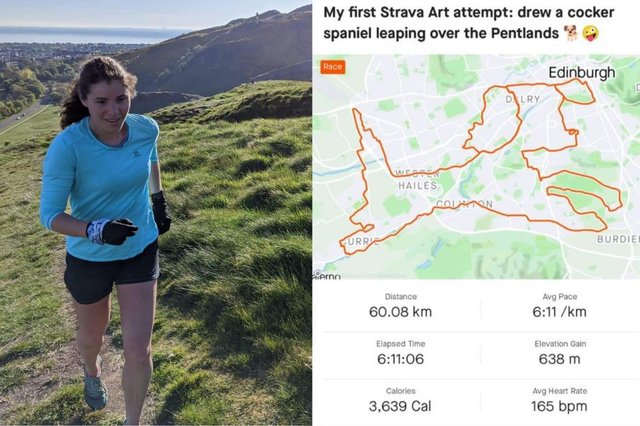 Chiara running near Arthur's Seat in Edinburgh and an image of her Strava art work which she recently created picture: supplied