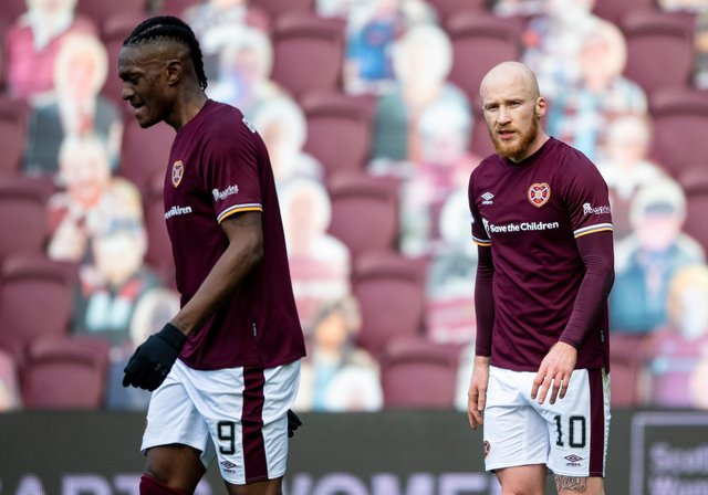 Hearts strikers Liam Boyce and Armand Gnanduillet.