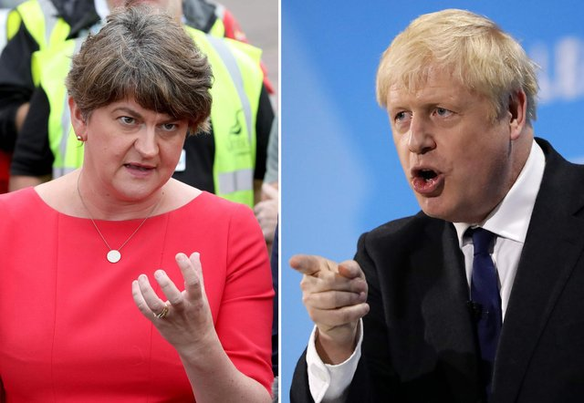 A combination of file pictures created in London on October 17, 2019 shows Democratic Unionist Party (DUP) leader Arlene Foster (L) speaking to the media outside Stormont House, Belfast on July 31, 2019, and Conservative MP and leadership contender Boris Johnson addressing the final Conservative Party leadership election hustings in London, on July 17, 2019. - Northern Ireland's Democratic Unionist Party is holding out in opposition to the Brexit deal struck Thursday, October 17, 2019 between London and Brussels -- a stance which has the potential to sink the agreement. The DUP, which supports Prime Minister Boris Johnson's Conservative government, holds major sway in whether a divorce agreement can get through parliament. (Photo by Tolga AKMEN and Paul FAITH / AFP) (Photo by TOLGA AKMEN,PAUL FAITH/AFP via Getty Images)