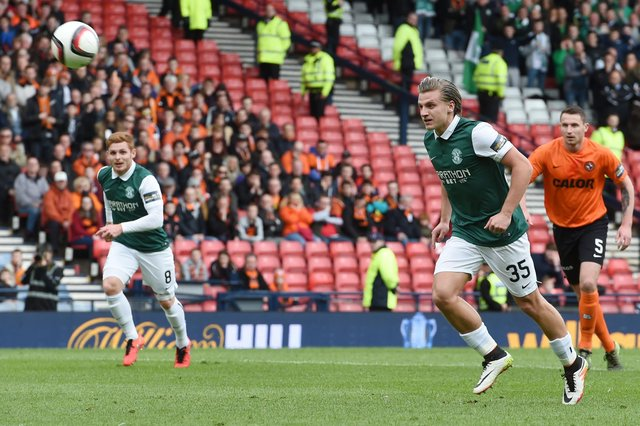 Jason Cummings chipping his penalty over the bar in the 2016 Scottish Cup semi-final. Picture: SNS