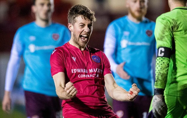 Brora's Martin MacLean celebrates his side's historic win over Hearts at full time. (Photo by Ross Parker / SNS Group)