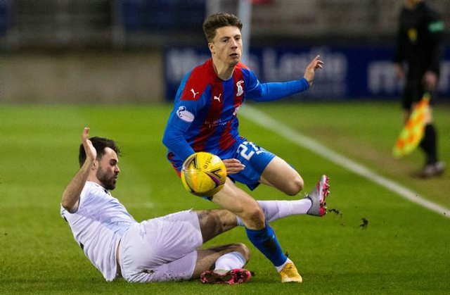 Inverness' Daniel McKay is challenged by Raith Rovers' Regan Tumilty during a Scottish Championship match between Inverness Caledonian Thistle and Raith Rovers at the Tulloch Caledonian Stadium, on March 12, 2021, in Inverness, Scotland. (Photo by Bruce White / SNS Group)