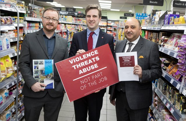 Dr John Lee and Pete Cheema of the Scottish Grocers' Federation have issued the new campaign calling on retail staff to report crime and assault to bolster the Protection of Workers Act due to come into effect later this year, spearheaded by Daniel Johnson MSP.
