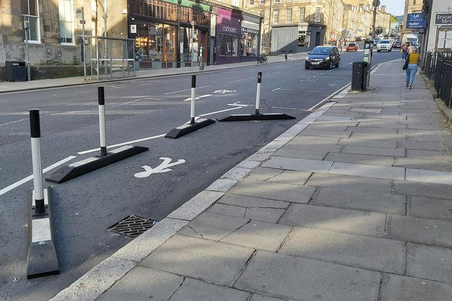 This Spaces for People project is designed to widen the pavement on Edinburgh's Broughton Street, but Steve Cardownie suggests it is so small that pedestrians will not use it (Picture: Steve Cardownie)