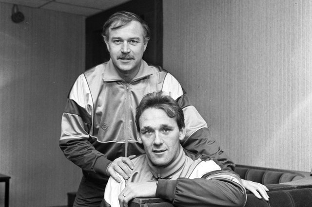 Hearts manager Sandy Clark (seated) with Walter Borthwick in November 1988.