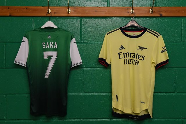 A Hibs shirt with Bukayo Saka's name and number pictured in the away dressing room at Easter Road