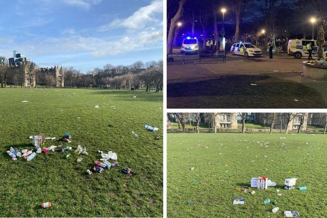 Hundreds of youths partying on the Meadows last night left the park covered in litter.
