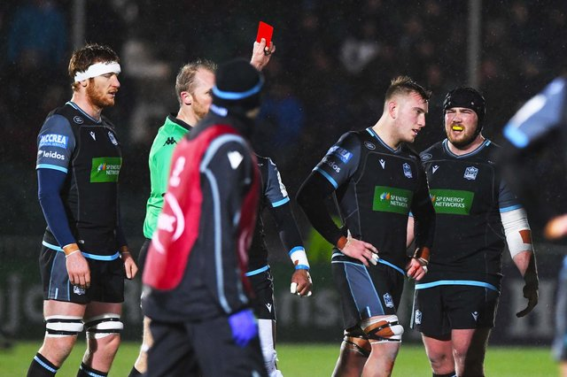 Glasgow's Matt Fagerson is shown the red card against La Rochelle in last season's Champions Cup. In the Rainbow Cup, players sent off can been replaced after 20 minutes. Picture: Paul Devlin/SNS