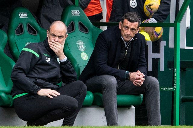 Hibs manager Jack Ross (right) and assistant John Potter endured a difficult afternoon as their Easter Road side contributed to their own downfall against St Johnstone. Photo by Ross Parker / SNS Group