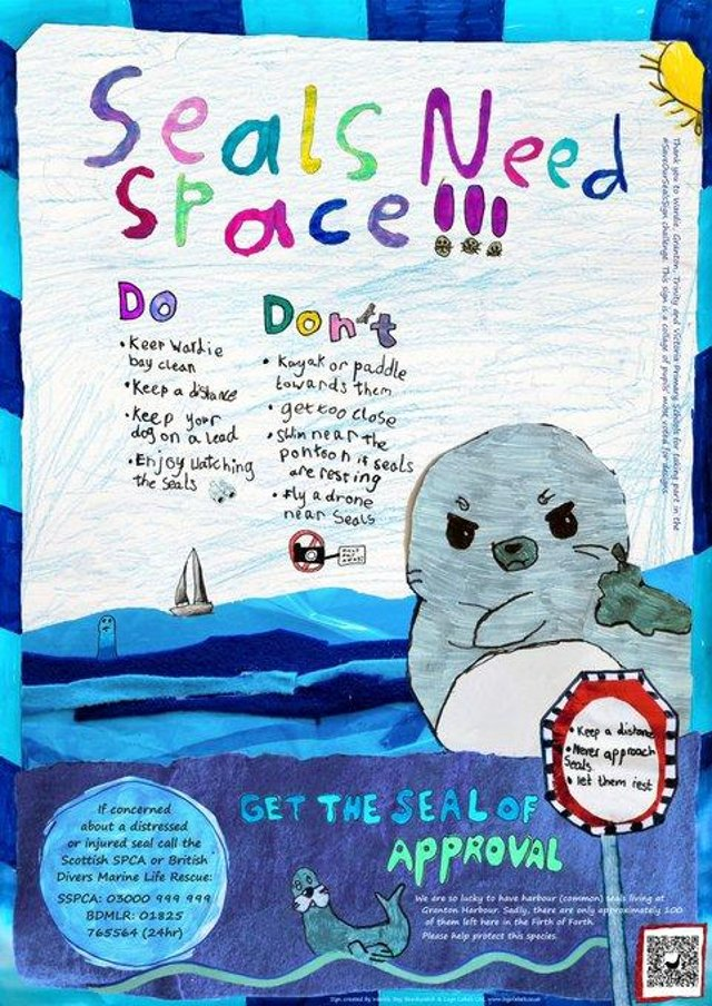 The final #SaveOurSealsSign is being installed at Wardie Bay on Tuesday 4 May