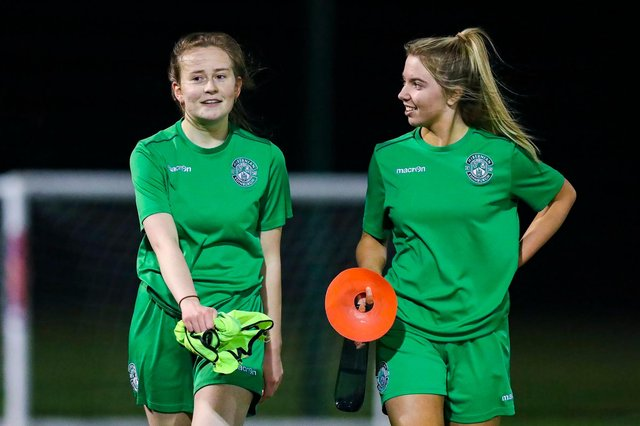 Hibs Under-19s girls Emma Miller and Ellie Crawford are delighted to have returned to training. Picture by Craig Doyle