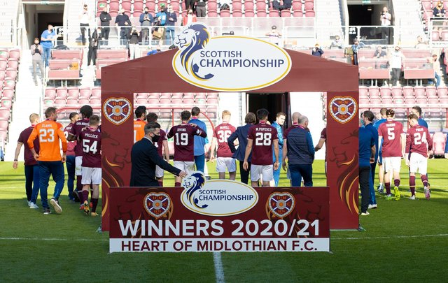 Hearts won the 2020/21 Championship title. Picture: SNS