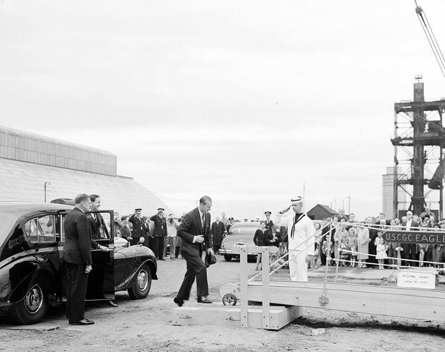 The Duke of Edinburgh visits US Coastguard Cutter Eagle at Leith (July 1962).