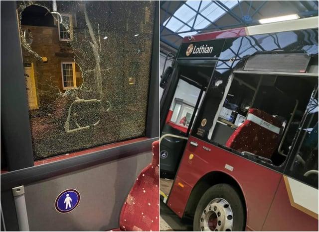 Large stones were thrown through several bus windows on Monday night.