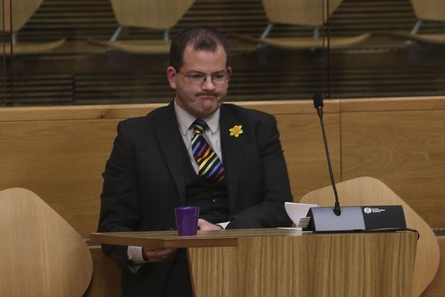 Mark McDonald MSP during the debate on the Budget at the Scottish Parliament in Holyrood, Edinburgh picture: Fraser Bremner/Scottish Daily Mail
