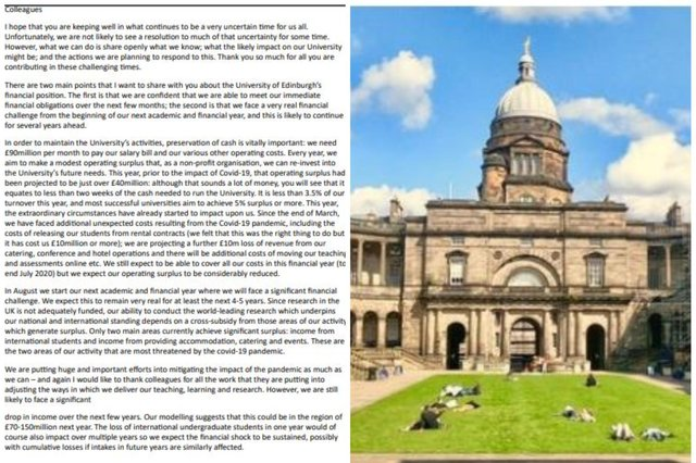 In a bombshellemail seen by the Evening News,university Principal Peter Mathieson has warned the institution will need to undergo an aggressive cost-cutting programme.