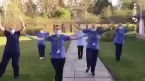 Staff at Burngrange Care Home show off their dance moves.